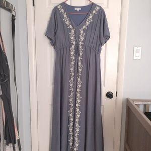 XL Maternity Gown: Gorgeous Slate Blue Maxi